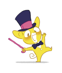 chat qui danse avec chapeau et canne